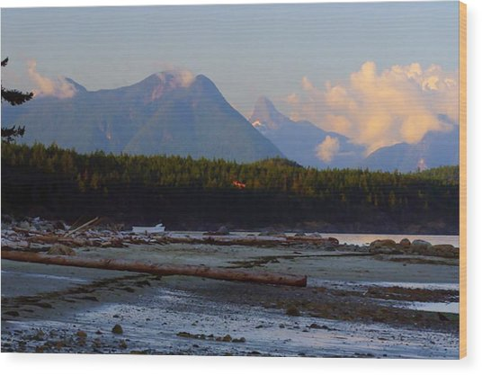 Multileval Photography In One Land Water Trees Mountain Clouds Skyview Olympic National Park America Wood Print