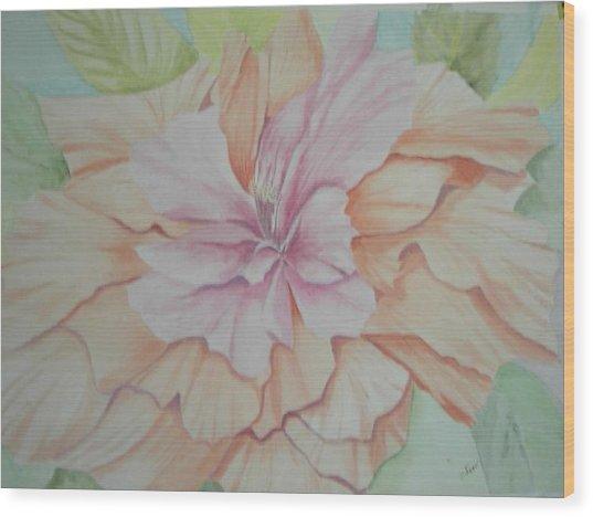 Multipetaled Pink Coral Hibiscus Wood Print