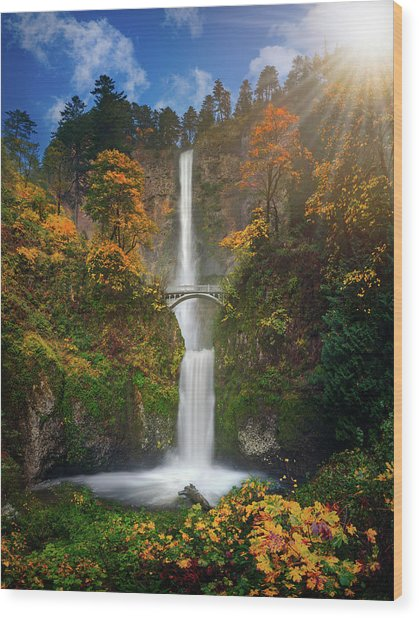 Multnomah Falls In Autumn Colors -panorama Wood Print