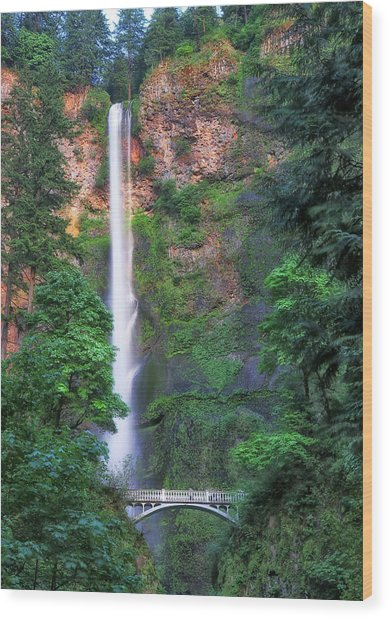Multnomah Falls Portland Oregon Wood Print