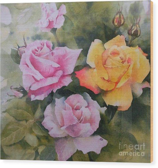 Mum's Roses Wood Print