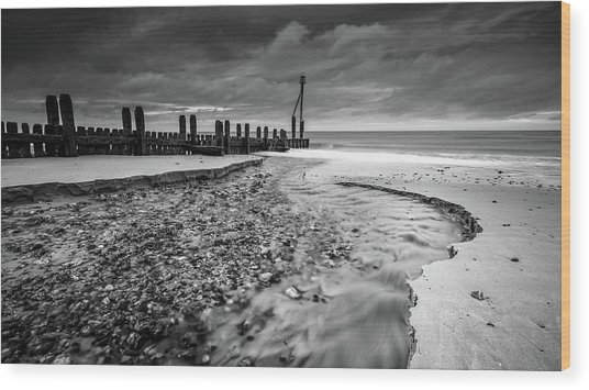 Wood Print featuring the photograph Mundesley Beach - Mono by James Billings