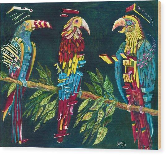 Munton Parrots Wood Print