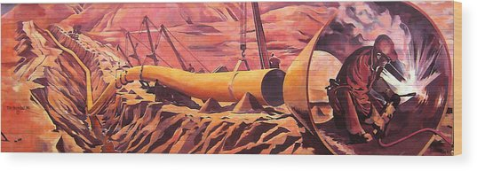 Mural 12x90 Feet Detail Pipeline Wood Print