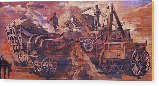 Mural 12x90 Feet Detail Threshing Crew Wood Print