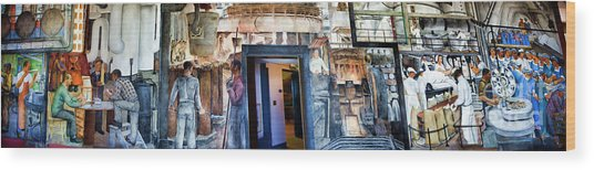 Mural Coit Tower Interior Panorama  Wood Print