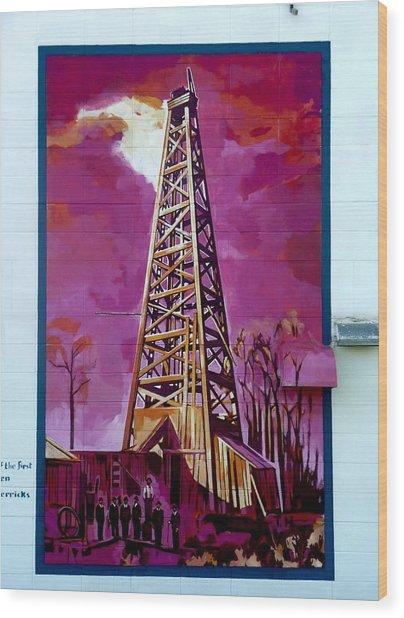 Mural Detail 12x120 Feet Midwest The First Oil Derek In Alberta Wood Print
