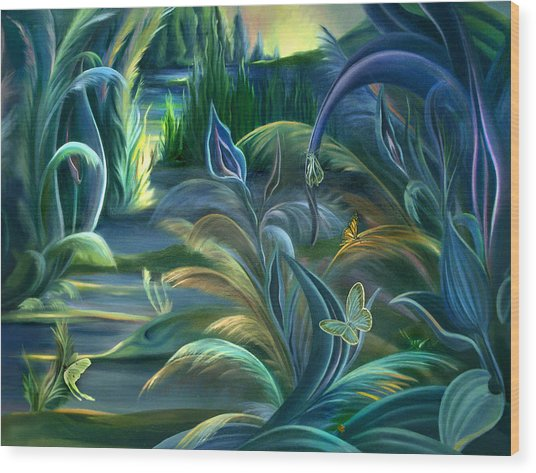 Mural  Insects Of Enchanted Stream Wood Print
