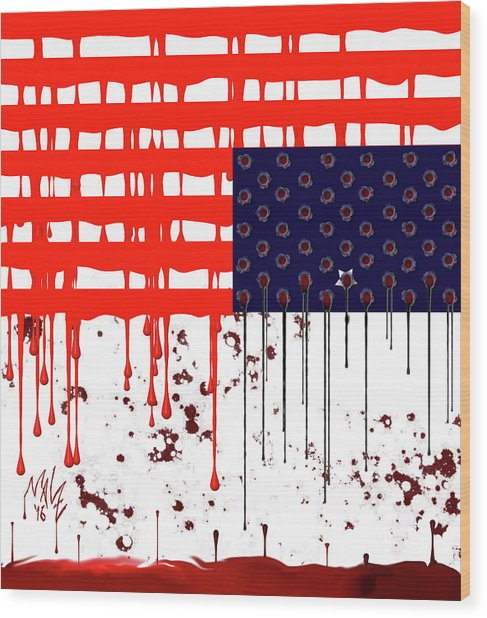 America In Distress Wood Print