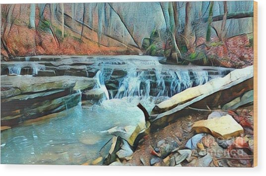 Muscatatuck Falls Touch Of Blue Abstract Wood Print