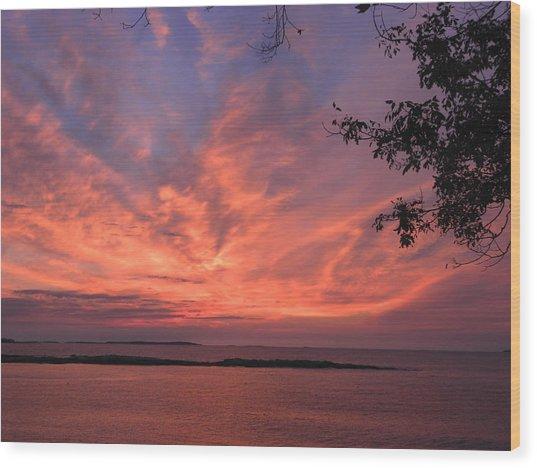 Muscongus Sound Sunrise Wood Print
