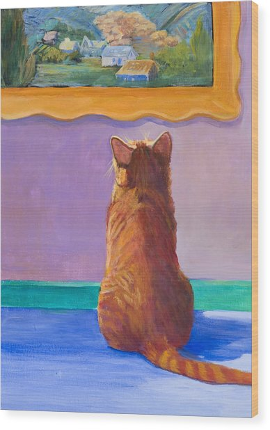 Museum Cat 2 Wood Print by Jimmie Trotter