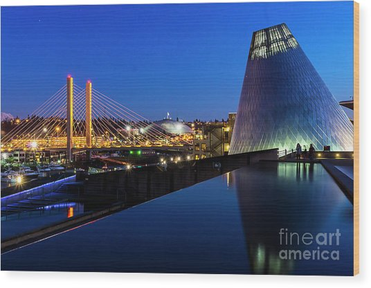 Museum Of Glass At Blue Hour Wood Print