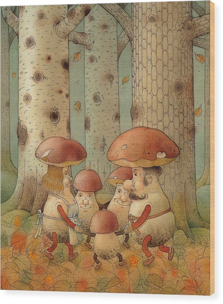 Mushrooms Wood Print by Kestutis Kasparavicius