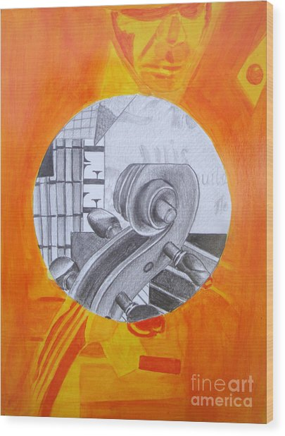 Wood Print featuring the painting Music 3 by Maria Langgle