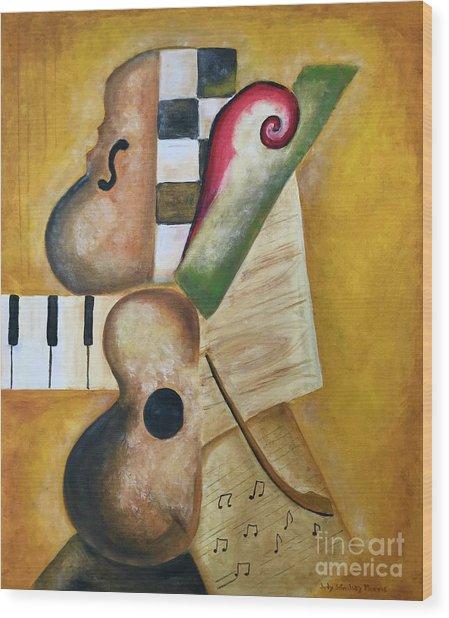 Music Abstract  Wood Print