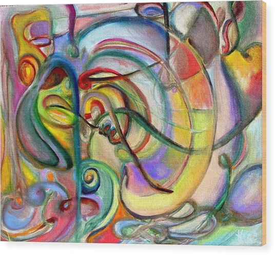 Music Abstract Wood Print by Kathy Dueker