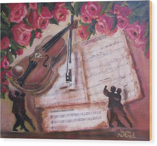 Music And Roses Wood Print