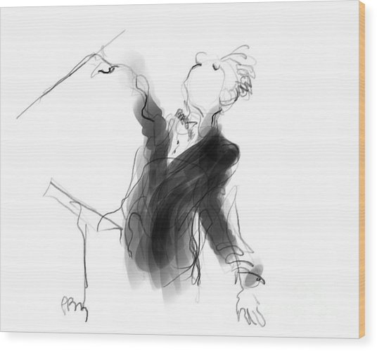 Music Conductor Sketch Wood Print