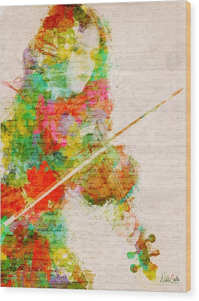 Wood Print featuring the digital art Music In My Soul by Nikki Smith