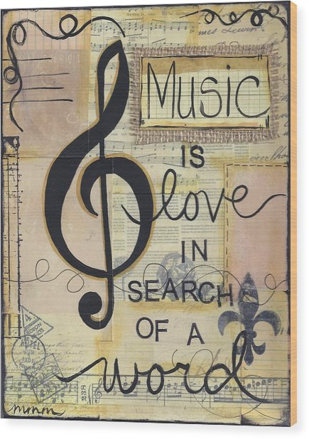 Music Is Love Wood Print