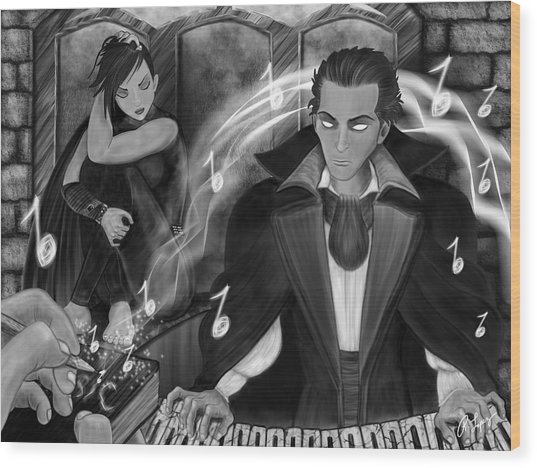 Music Is Magic - Black And White Fantasy Art Wood Print
