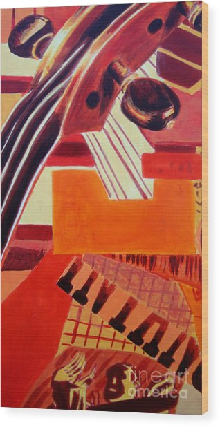 Wood Print featuring the painting Music by Maria Langgle