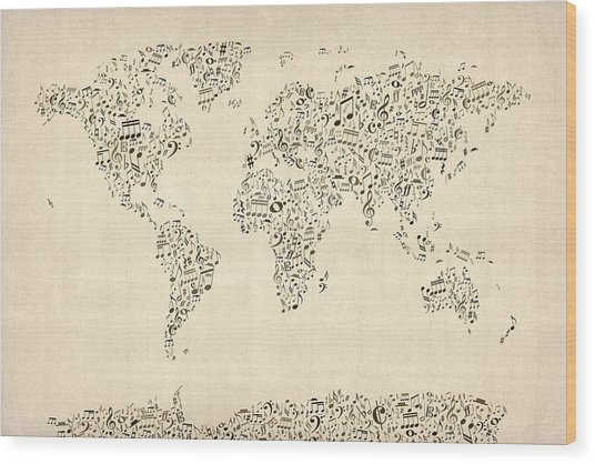 Music Notes Map Of The World Map Wood Print