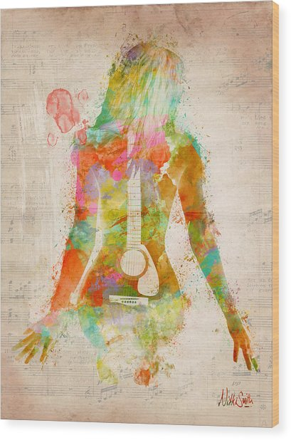 Wood Print featuring the digital art Music Was My First Love by Nikki Marie Smith