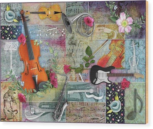 Musical Garden Collage Wood Print