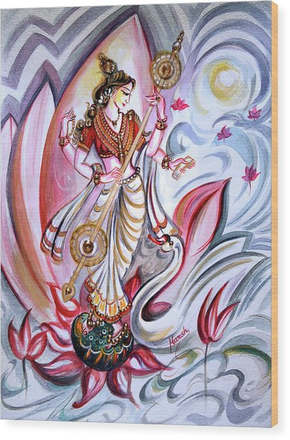 Musical Goddess Saraswati - Healing Art Wood Print