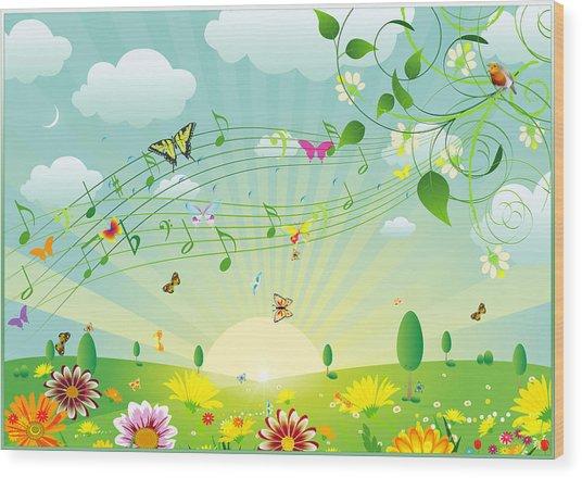 Musical Wood Print