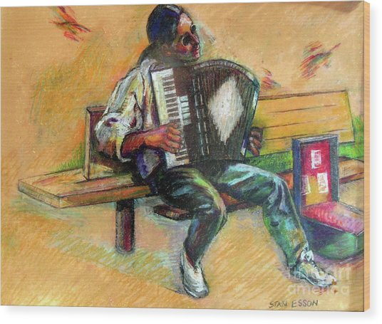 Musician With Accordion Wood Print