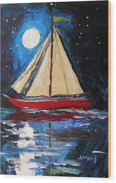Musing-midnight Sail Wood Print