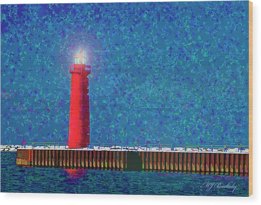 Muskegon Lighthouse Wood Print by Marti Buckely