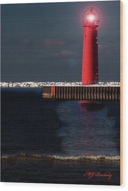 Muskegon Mi Lighthouse Wood Print by Marti Buckely