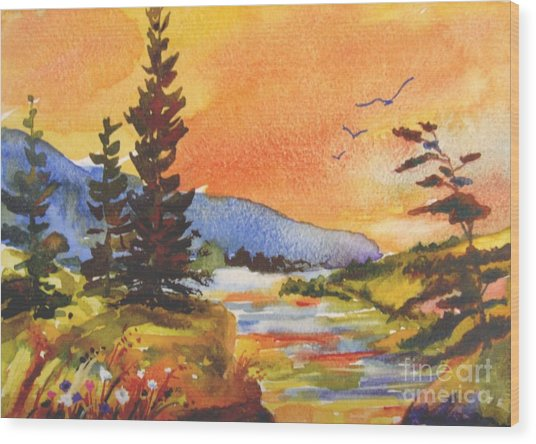 Muskoka Sunset Wood Print