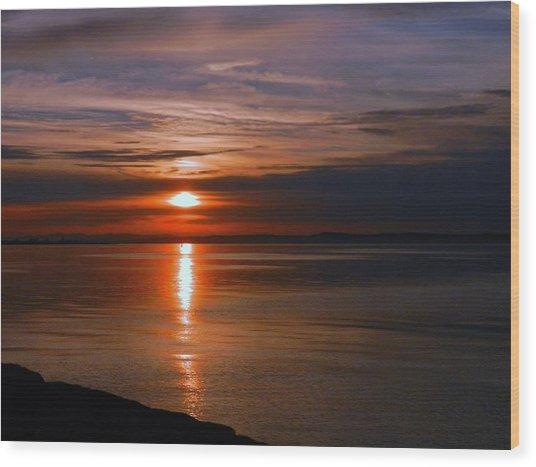 Musselburgh Sunset Wood Print by Nik Watt