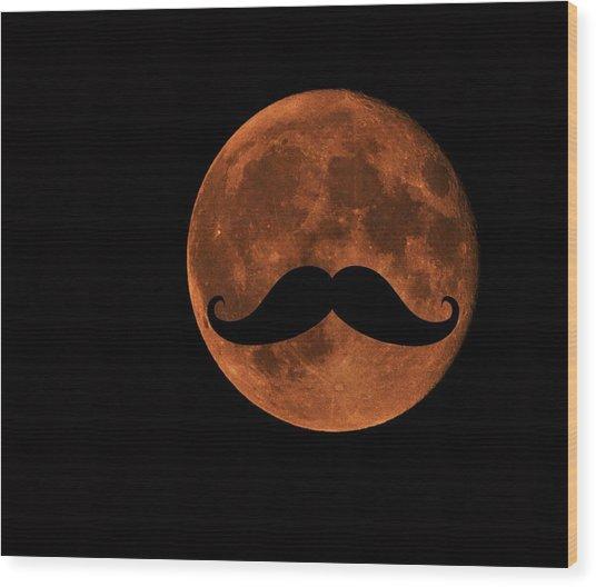 Mustache Moon Wood Print