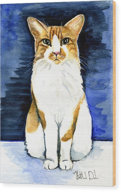 Mustached Bicolor Beauty - Cat Portrait Wood Print