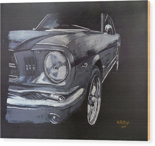 Mustang Front Wood Print