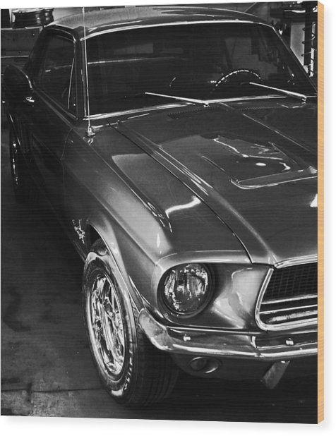 Mustang In Black And White Wood Print