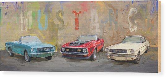 Mustang Panorama Painting Wood Print