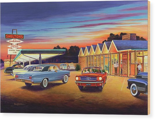 Mustang Sally - Shelton's Diner 2 Wood Print