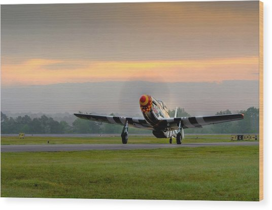 Mustang Sunrise Wood Print