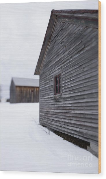Wood Print featuring the photograph Musterfield Farm North Sutton Nh Old Buildings In The Snow by Edward Fielding