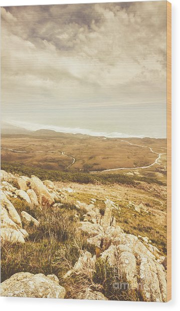Muted Mountain Views Wood Print