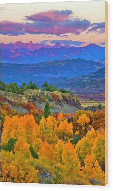 Muted Sunset Colors Of Autumn Wood Print