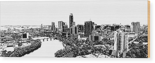 My Austin Skyline In Stamp Wood Print
