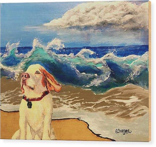 My Dog And The Sea #1 - Beagle Wood Print